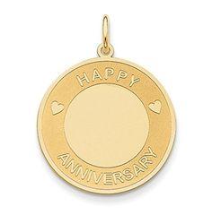 14K Yellow Gold Happy Anniversary Charm - http://www.specialdaysgift.com/14k-yellow-gold-happy-anniversary-charm/