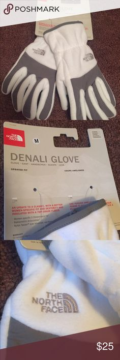 North face Denali women's gloves Size medium. White/gray gloves, brand new, never worm still in package. Fleece. Not touch screen compatible. North Face Accessories Gloves & Mittens