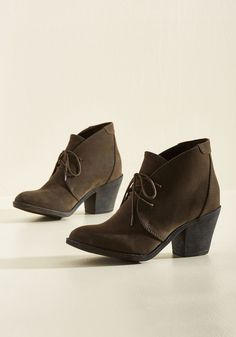 One Thing Leaps to Another Bootie. Jump right into a day of wandering with these brown booties from Blowfish! #brown #modcloth