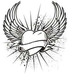 drawn artistic heart pictures | Winged Heart Tattoo Design | Royalty Free Stock Vector Art ...