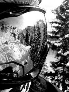 Goggle reflection. Ski. Snow. PHotography