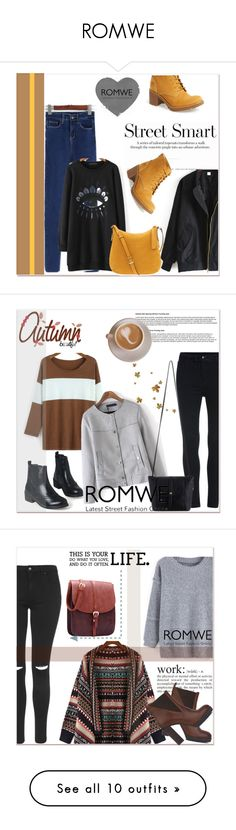 """ROMWE"" by amra-mak ❤ liked on Polyvore featuring Timberland, Henri Bendel, romwe, Topshop, Akira Black Label, Forever 21, Brian Atwood, Mary Kay, vintage and Coffee Shop"
