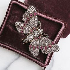 Diamond and Ruby Butterfly #brooch #vintage #jewelry #jewelryantique #GemstoneBrooches