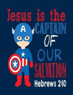 Captain America Christian Superhero Wall Art Print - Jesus is the Captain of our…