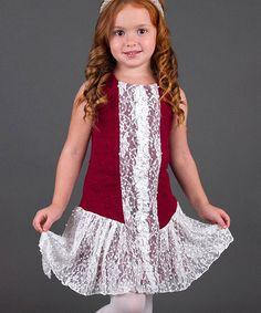 ae3743065a3 Mia Belle Baby Wine   Cream Lace Drop-Waist Dress - Toddler   Girls