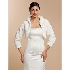 Elegant Long Sleeve Faux Fur Wedding/ Party Jackets/ Wraps – USD $ 29.69