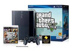 The PlayStation 3 Grand Theft Auto V Bundle features a black PlayStation 3 system featuring a massive 500GB hard drive which holds up to 3750 games, 297 movies, 198,437 songs, and 80,000 photos. Package includes PlayStation 3 system 500GB, Grand Theft Auto V game, 30-Day PlayStation Plus Voucher, DUALSHOCK 3 wireless controller, AC Power Cord, AV Cable, USB Cable.