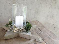 beton glas lysestage havebord centerpiece