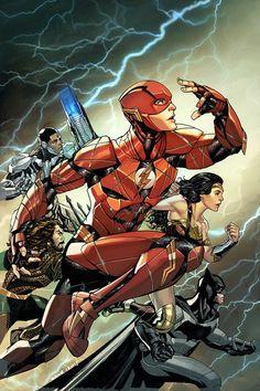 Flash, Aquaman, Cyborg, Wonder Woman, and Batman