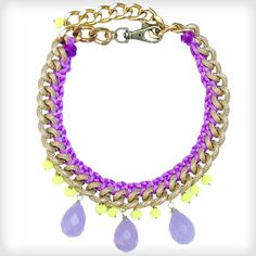 Neon - bang on trend http://www.cottonandgems.com/jewellery/necklaces/clare-hynes-jia-purple-yellow-necklace