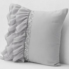 Decorative Throw Pillows, Cushions, Bedding, Table Linens -AmoreBeaute Decorative cushion in grey with ruffled crepe and sequin beads and crystal detail This pillow has swaths of crepe georgette adding elegant depth and interest to your room decor The Bow Pillows, Ruffle Pillow, Sewing Pillows, Grey Pillows, Burlap Pillows, Handmade Cushions, Decorative Cushions, Decorative Pillow Covers, Cushion Cover Designs