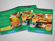 Yummy Pizza Restaurant Bi-Fold Brochure Template