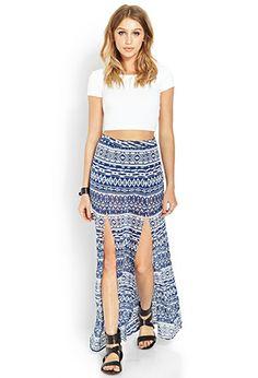 M-Slit Tribal Print Skirt | FOREVER 21 - 2000124565