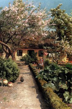 Peder Mork Monsted Art Reproduction - Watering The Garden, Oil Painting Reproduction of Monsted Paintings I Love, Beautiful Paintings, Oil Paintings, Indian Paintings, Abstract Paintings, Garden Painting, Garden Art, Painting Art, Landscape Art