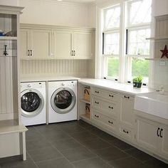 Stone Source - laundry/mud rooms - mudroom laundry room, laundry room mudroom, beige cabinets, beige laundry room cabinets, beige beadboard,...