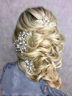 Bridal hair pins set of 3 Wedding pins Prom hair by EoliBridal
