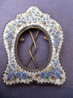 Victorian Micro-mosaic Picture Frame Brass Easel Stand To Back