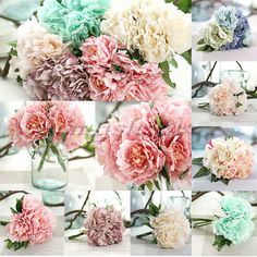 "(1 x Bouquet (5 Heads each bouquet) Peony Flower. Size: total length 27cm/ 10"", bouquet dia 20cm/ 7.8"". Can use for a long time, always blossom. Gorgeous flower color, Chic shape. Flower dia: 10cm/ 3.9"". | eBay!"