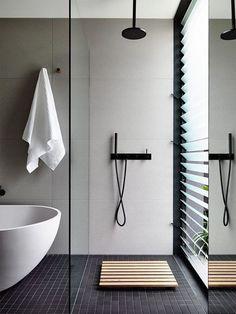 48 Awesome Minimalist Bathroom Design Ideas - Page 12 of 48 Minimalist Bathroom Design, Bathroom Interior Design, Bathroom Designs, Minimalist Design, Nautical Bathrooms, Small Bathroom, Modern Bathrooms, Bathroom Black, Remodled Bathrooms