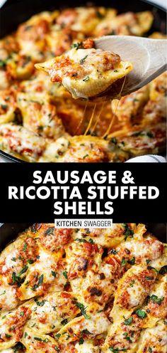 Sausage Stuffed Shells, Stuffed Shells Recipe, Stuffed Pasta Shells, Healthy Stuffed Shells, Italian Stuffed Shells, Stuffed Shells With Ricotta, Stuffed Pasta Recipes, Jumbo Shells Stuffed, Pasta Dinner Recipes