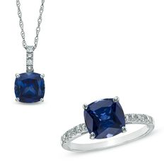 Blue and White Sapphire Pendant and Ring Set