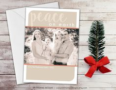 Custom Photo Holiday Card - Printable Photo Christmas Card - Peace on Earth - New Years Photo Card - Tan and Peach - WH202 by KMThomasDesigns on Etsy