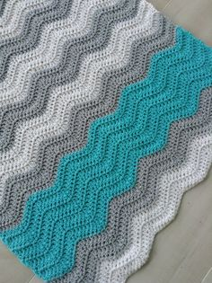 Turquoise unisex crochet baby or lap blanket for sale in my Etsy shop :)