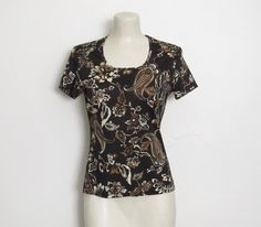 Vintage 1970s ACT III Top / Black, White and Brown Floral & Paisley Print / Fitted Pullover Shirt by VelouriaVintage on Etsy