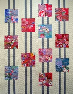 This could be a simple quilt idea used in many color ways: I love this.showcasing fabrics you love. Modern Quilting Designs This could be a simple quilt idea used in many color ways: I love this.showcasing fabrics you love. Quilting For Beginners, Quilting Tutorials, Quilting Projects, Quilting Ideas, Quilting Patterns, Patchwork Quilting, Scrappy Quilts, Easy Quilts, Modern Quilting Designs