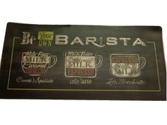 Be Your Own Barista Espresso Coffee Themed Kitchen Rug 42 In. X 20 In.