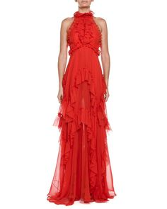 B2ZRA Emilio Pucci Cascading Ruffle Tulle Halter Gown