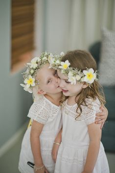 Darling flower girls with floral headbands! Photo by Photography by Caspix  #vêtements #clothing #enfant #children #fille #girl #ceremony #cérémonie #mariage #wedding #couronne #fleurs #flowers