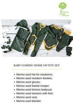 The little one will be enjoying these clothes in both hospital and at home, you can also use it outdoors, in the car or the shop.   #babykit #hospitalbag #newborn #giftforbaby Hospital Bag Essentials, Baby Coming Home Outfit, Wool Gloves, Baby Kit, Green Rose, Newborn Outfits, Outfit Sets, Baby Shower Gifts, Bodysuit