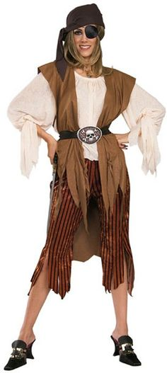 Sally Swashbuckler Head scarf, shirt with attached vest, belt & pants. Eye Patch Sold Seperately.