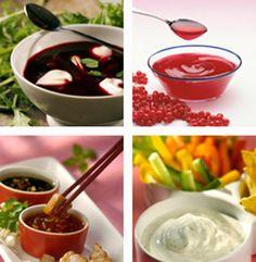 Salsas y aderezos de diferentes combinaciones, sabores y texturas.