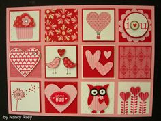 valentine card hearts birds cakes and owls