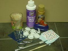 Milk carton plastic pull-tabs to make miniature plates!