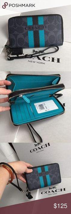 Coach Wallet 100% Authentic Coach Wristlet/Wallet, brand new with tag!color Denim/Black. Coach Bags Wallets