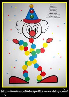 .. Clown Peggy gommette .. Diy For Kids, Crafts For Kids, Theme Carnaval, Summer Camp Art, Clown Crafts, Le Clown, Circus Theme, Plate Crafts, Kids Cards