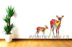 Colorful Deer Wall Decals Woodland Animal decals Mother by Popitay
