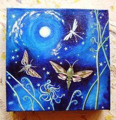 'Mothlight' small acrylic painting by Karen Davis, via Etsy