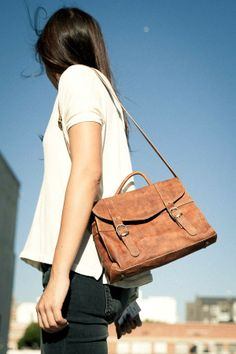 Brandy ♥ Melville | Brown Leather Buckle Satchel - Bags - Accessories