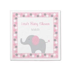 Mod Pink Elephant Disposable Napkin