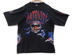 Vintage 80s New England Patriots NFL T-Shirt - XL - Patriots Football - 80s Clothing - Tom Brady - Vintage Tee - Vintage Clothing - by BLACKMAGIKA on Etsy