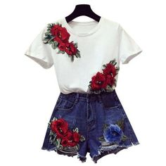 Vintage Embroidery Red Flower Suits White T-Shirts Jeans Denim Shorts... ($41) ❤ liked on Polyvore featuring vintage two piece, white two piece and floral two piece