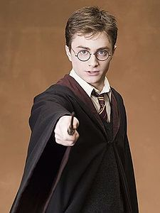 harry with his wand at the ready.