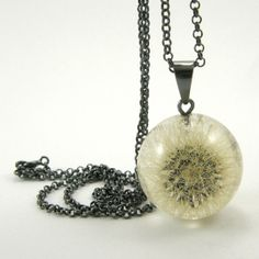Dandelion Pendant, Dandelion in Resin Round with Oxidized Sterling Silver Necklace, Small Dandelion Pendant with a Long Chain