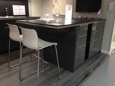Ringhult kitchen IKEA grey gloss with breakfast bar. Had't thought to put the breakfast bar at the end of the island - this works really well. We would go for white gloss with horizontal t-bar handles.