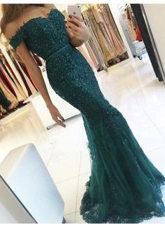 Meerjungfrau-Linie/Mermaid-Stil Carmen-Ausschnitt bodenlang Kurz Tülle Abendkleider # JKL141