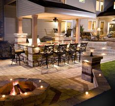 An outdoor kitchen can be an addition to your home and backyard that can completely change your style of living and entertaining. Earlier, barbecues temporarily set up, formed the extent of culinary attempts, but now cooking outdoors has become an. Outdoor Kitchen Design, Patio Design, House Design, Outdoor Kitchens, Outdoor Spaces, Outdoor Decor, Outdoor Lighting, Lighting Ideas, Outside Living